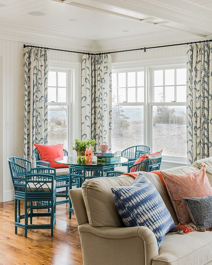 John Robshaw Prasana for Duralee Curtains South Shore Oceanfront Design by Katie Rosenfeld: Buy fabric here: http://fabricliving.com/product/duralee/fabric/c-1732-p-5878-dl-21037-prasana-by-duralee