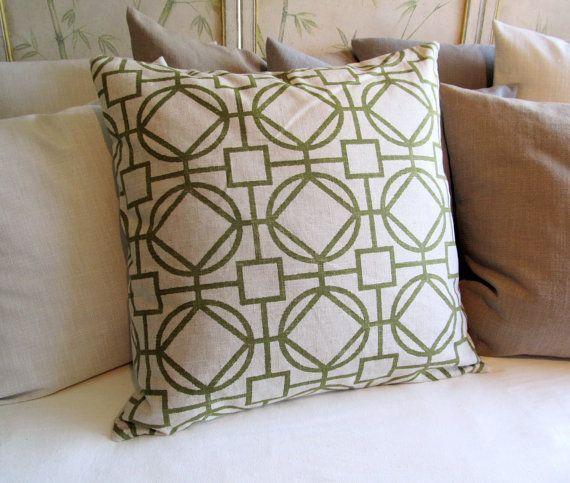 KIWI GREEN geometric 24x24 Super Large Pillow Cover