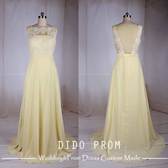 Custom Made Pale Yellow Lace Prom Dress 0a3cdcf14e03
