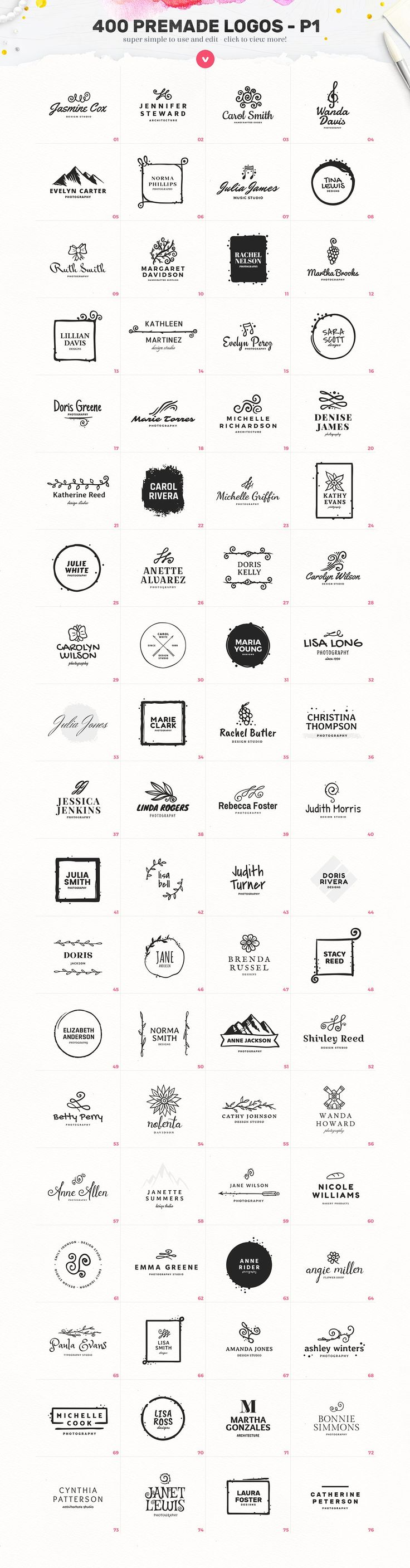 Lady Logo Bundle - 400 Logos by AlienValley on @creativemarket
