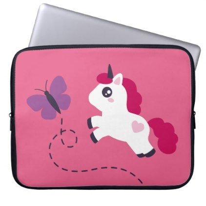 #Cute White Unicorn with a Butterfly Computer Sleeve - #cute #pink #sweet #custom