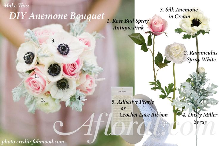 DIY Anemone Wedding Bouquet Idea, Vintage wedding bouquet, anemone, roses, ranunculus, dusty miller #DIYweddingbouquet #vintagewedding #afloral photo credit: fabmood.com