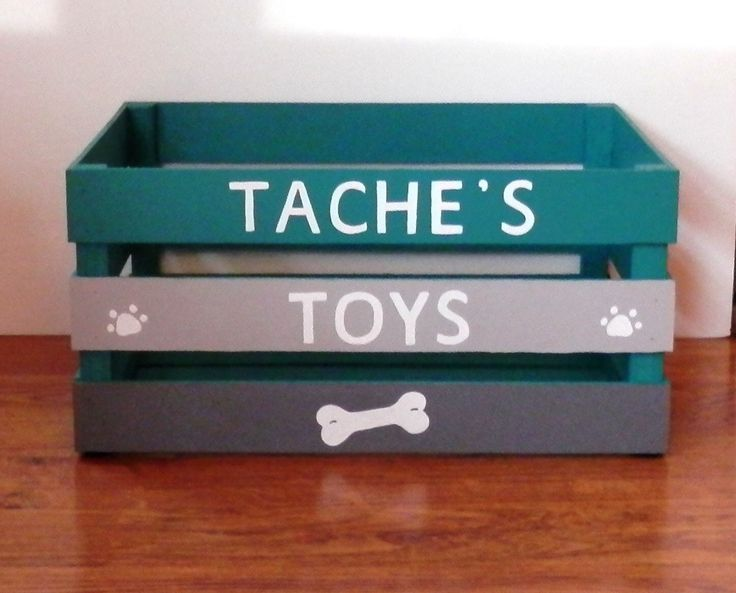 Dog Toy Box, Teal With Light and Dark Grey Toy Box, Wooden Crate Toy Box, Dog Toy Container by WattsLakeStudio on Etsy https://www.etsy.com/listing/508619979/dog-toy-box-teal-with-light-and-dark