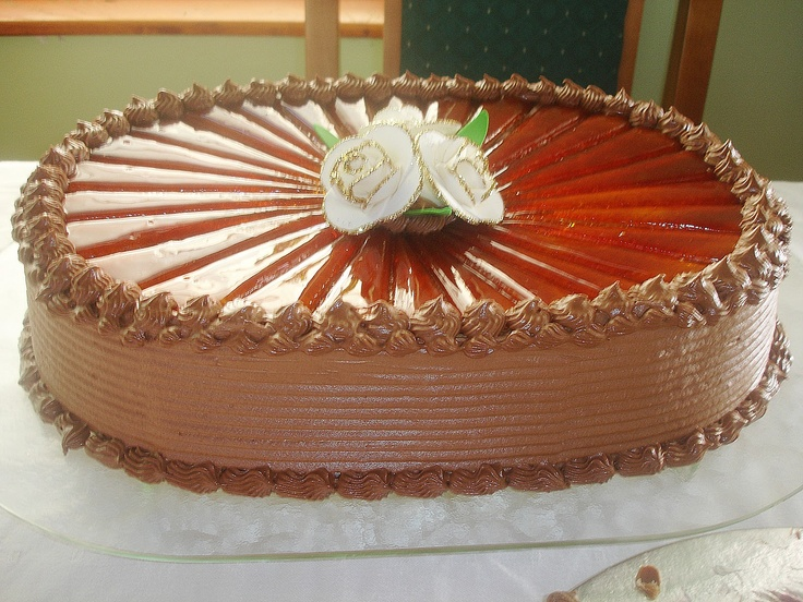 """I don't know how this cake called on English, but on Serbian is """"Dobosh"""" cake"""