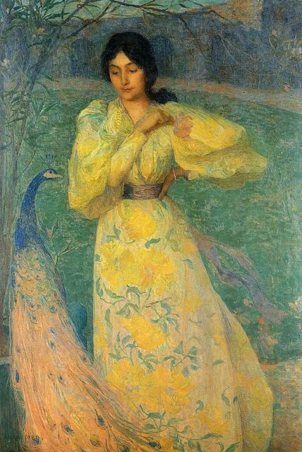 "Edmond Aman-Jean (1858 -1936), ""The girl with the peacock"" by sofi01, via Flickr"
