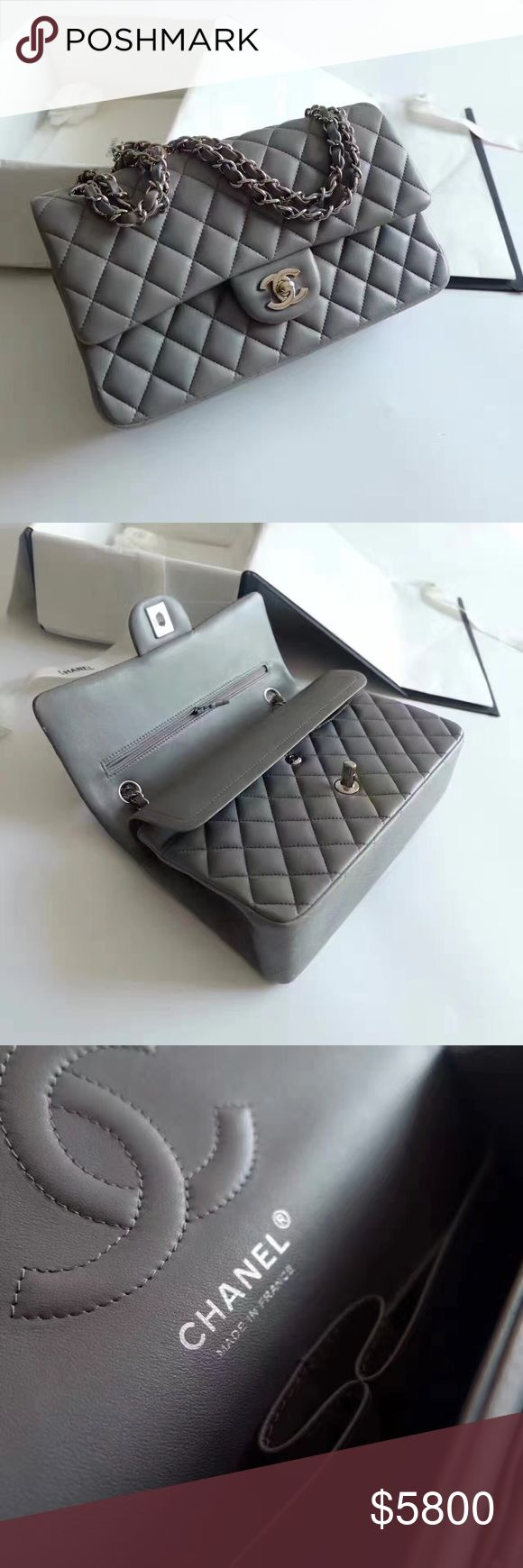 Chanel Classic Double Flap (Grey) Authentic Chanel Double Flap in Medium Size. Color: Grey with silver hardware. Excellent Condition. Comes with original packaging includes dustbag and box. ️️ CHANEL Bags Shoulder Bags