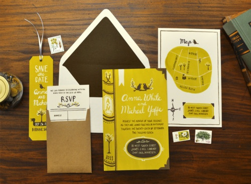 quiil and fox: Invitations Sets, Cute Ideas, Books Theme, Wedding Invitations, Wedding Stationary, Invitations Suits, Colors Schemes, Design Studios, Hands Drawn