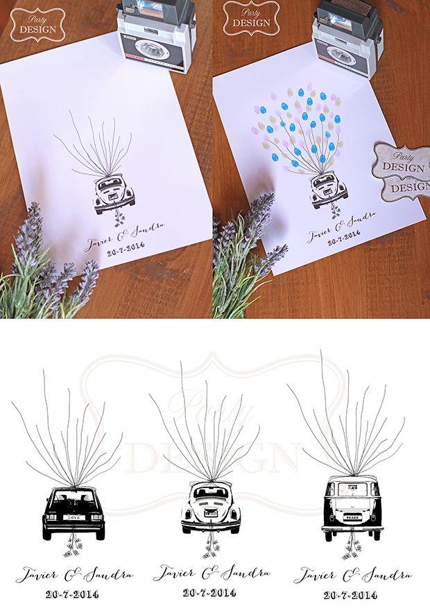 Imprimibles personalizado árbol de huellas para boda beetle, golf y T2