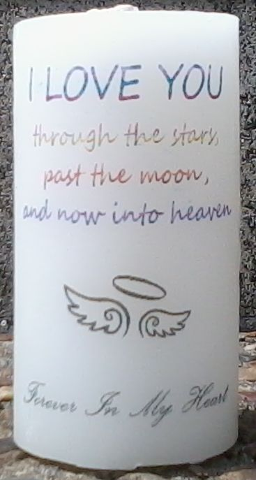 'I Love You' 10cm x 5cm memory keepsake candle with wings/halo graphic. { candle, wax, pillar, babyloss, miscarriage, stillbirth, bereaved, i miss you, memorial, keepsake, memory, angel, cherub, pregnancy, baby, my child did exist, forever in our hearts, infant loss, son, daughter, child, unconditional love, held your whole Life, Break The Silence, Say It Out Loud, religion, heaven, funeral, mother, father, son, daughter, child, nan, pop, grandparents, love, dearly departed, loved ones lost…