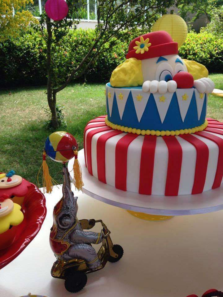 Clown cake at a circus birthday party! See more party ideas at CatchMyParty.com!