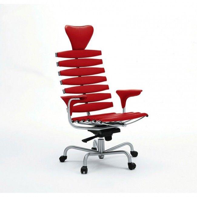 Легкая основа спинки кресла напоминает форму человеческого позвоночника, поэтому модель имеет такое название. Металлические планки, встроенные в спинку кресла, обиты натуральной кожей. Они адаптируются к форме тела своего владельца и обеспечивают ему максимальный комфорт. http://goodroom.com.ua/mag/ofisnoe-kreslo-skeleton-maksimal-nyj-komfort/ #Home_Office #Workspace #Interiors #Furniture #Chair #Office Офисные стулья Рабочие кресла Офисное кресло