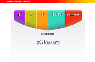 The McGraw Hill Mathematics eGlossary provides written and verbal definitions and explanations of mathematics terms. The glossary is divided by grade level. Select your grade level then the first letter of the term for which you need an explanation. The explanation is offered in text form as well as verbal (click the speaker icon to listen).