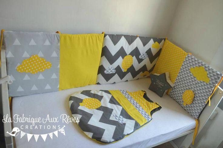 linge lit bébé tour lit gigoteuse graphique géométrique chevron triangle gris blanc jaune montgolfière nuage