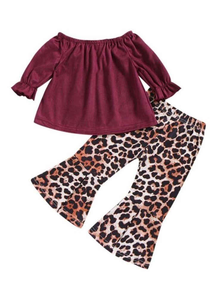 2-Piece Fall Baby Toddler Girl Off Shoulder Top Matching Leopard Pint Bell-bottoms