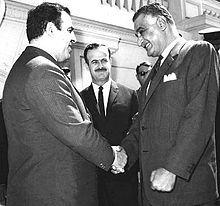 Assad (center 1918-1970) and Nureddin al-Atassi (left) meeting with Egyptian President Gamal Abdel Nasser, 1969