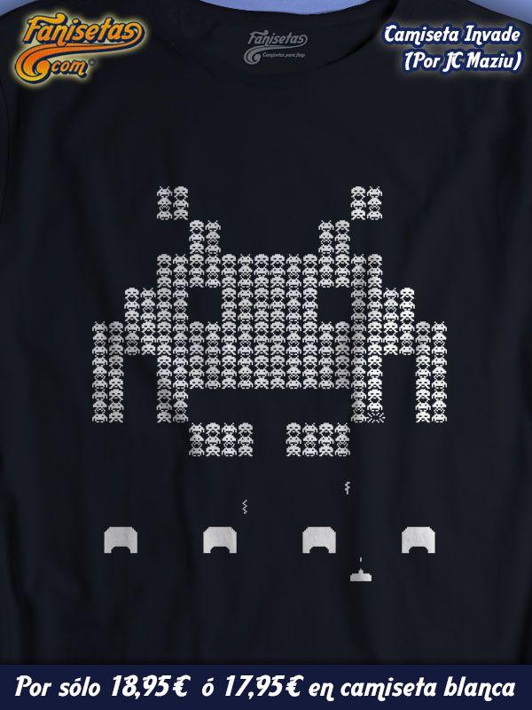"""""""Invade"""" ¿Qué os parece una partidita a los #SpaceInvaders? Un poco de nostalgia no es mala. #Camisetas #Fanisetas #Videojuegos http://www.fanisetas.com/invade-p-6049.html"""
