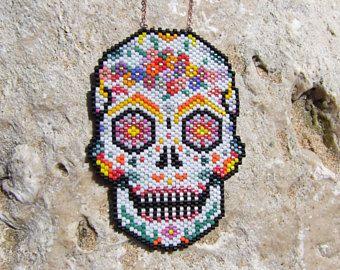 Sautoir Crâne Mexicain Tête De Mort Perles Miyuki Et Or Rose