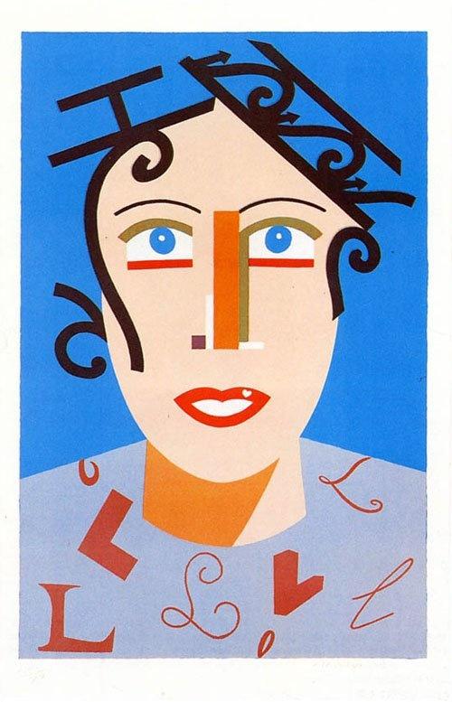 """Eduardo Arroyo - """"Femme au balcon""""  Lithographie,   Edition limitée (200)  Taille : 90x58cm,  Editeur : Lintas, Paris"""