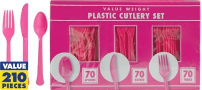 Bright Pink Cutlery Set 210pc