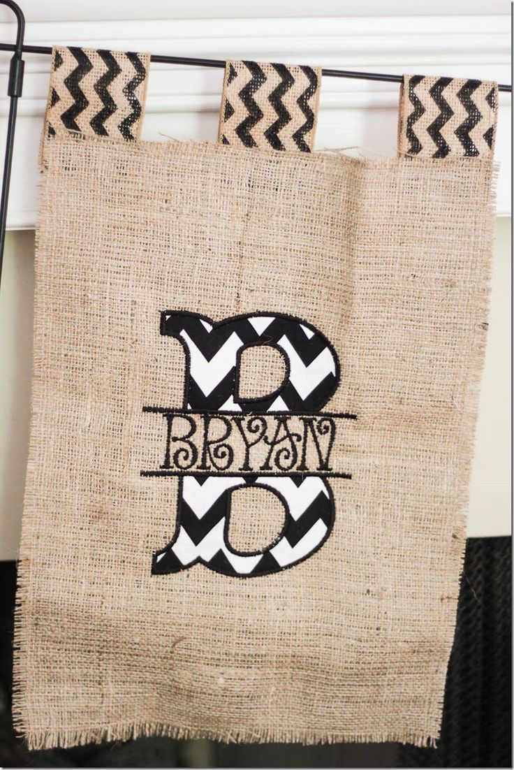 Burlap and chevron last name sign! LOVE! @Kathryn Whiteside Lewis do you think you could monogram something like this?