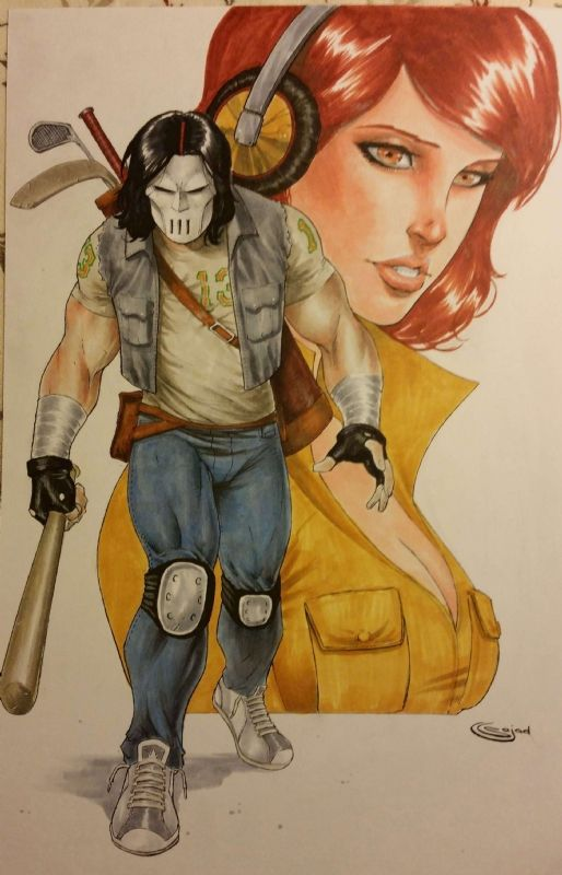 Casey Jones and April O'Neil by Sajad Shah Comic Art