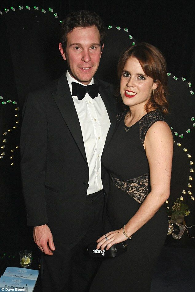 Princess Eugenie arrives at The Arts Club last night with boyfriend Jack Brooksbank; the couple have been dating for six years and are expected to announce their engagement soon