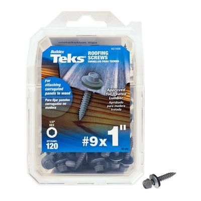 Teks #9 x 1 in. Fine Steel Hex-Head Sharp Point Roofing Screws (120-Pack)-21400 - The Home Depot