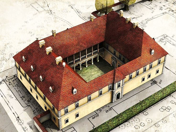Reconstruction of the Royal residence in Łobzów in about 1650. The original medieval residence was remodelled in mannerist style in 1580s by Santi Gucci for KIng Stephen Bathory and between 1602 and 1605 by Giovanni Trevano for Sigismund III Vasa