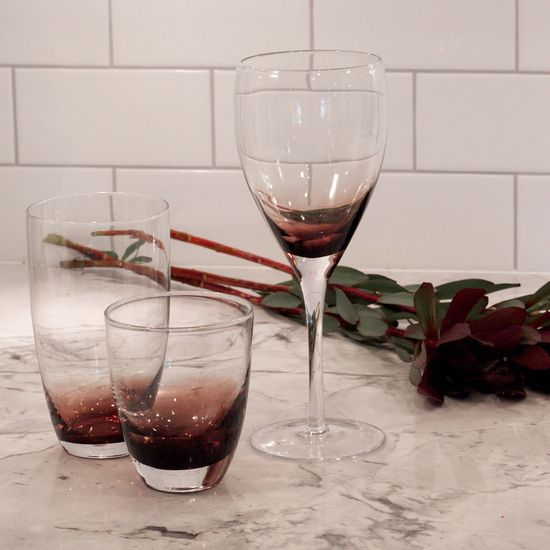 The Urban Barn Vera Glassware. Dramatic, romantic and perfect for a holiday table setting.