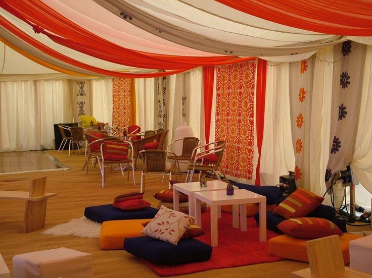 Decorated marquee interior informal furniture