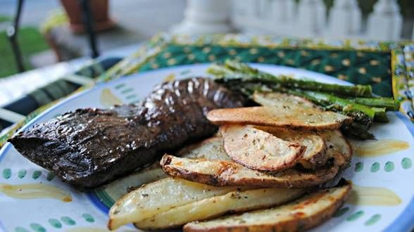 Steak Au Poivre with Herbs de Provence Oven Fries...saw on her show ...