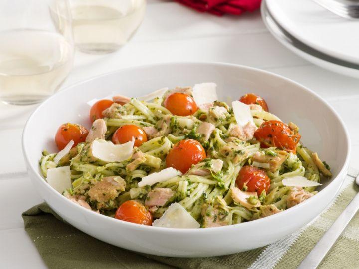 Recette Clover Leaf de Clover Leaf - Spaghetti au thon, aux artichauts et au pesto