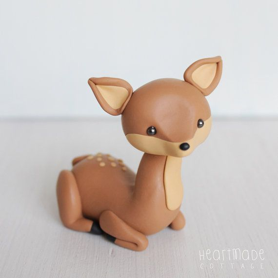 Fawn Woodland Clay Cake topper and keepsake - perfect for woodland theme baby shower or first birthday, baby animal polymer clay, deer