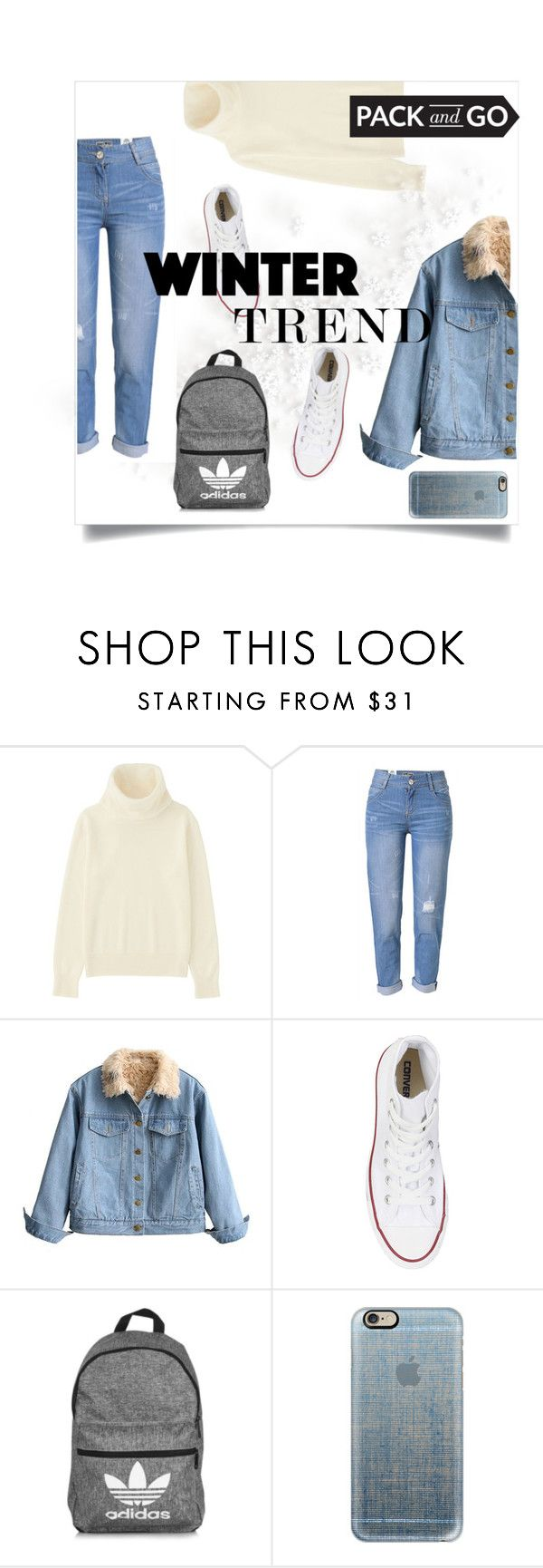 """Winter Trend"" by anna-white11 ❤ liked on Polyvore featuring Uniqlo, WithChic, Converse, adidas and Casetify"