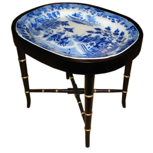 Antique English Blue and White Platter Tray Table.  Never knew these existed, but I love it.
