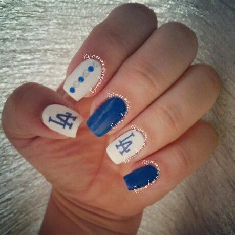 Dodgers nails.. blue and white... LA nails