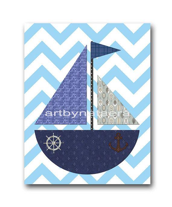 Ship Nursery Sea Nautical Baby Boy Nursery Art by artbynataera, $14.00
