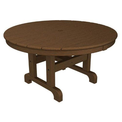 POLYWOOD ROUND 36 INCH CONVERSATION TABLE IN TEAK   Click Image Twice For  More Info