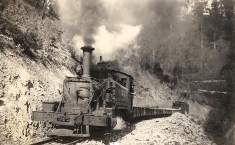 A narrow guage railway between Moe and Walhalla, about 1912. The steam locomotive is a 2-6-2 NA class built in 1898 and scrapped in 1929.