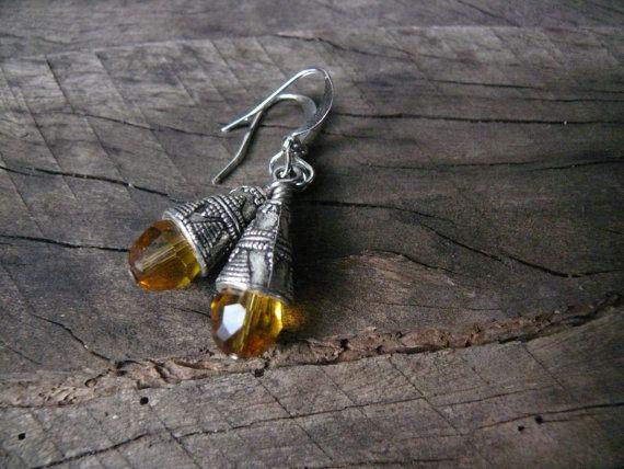 Citrine and indian metal dangle earrings. Yellow earrings.
