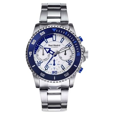 Image of Real Madrid Chronograph Stainless Steel Watch - Junior - White/Blue