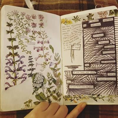 Creative Art Journaling - Blackout Poetry Page with vintage ephemera. My Makes Gallery - Kerrymay ._. Makes