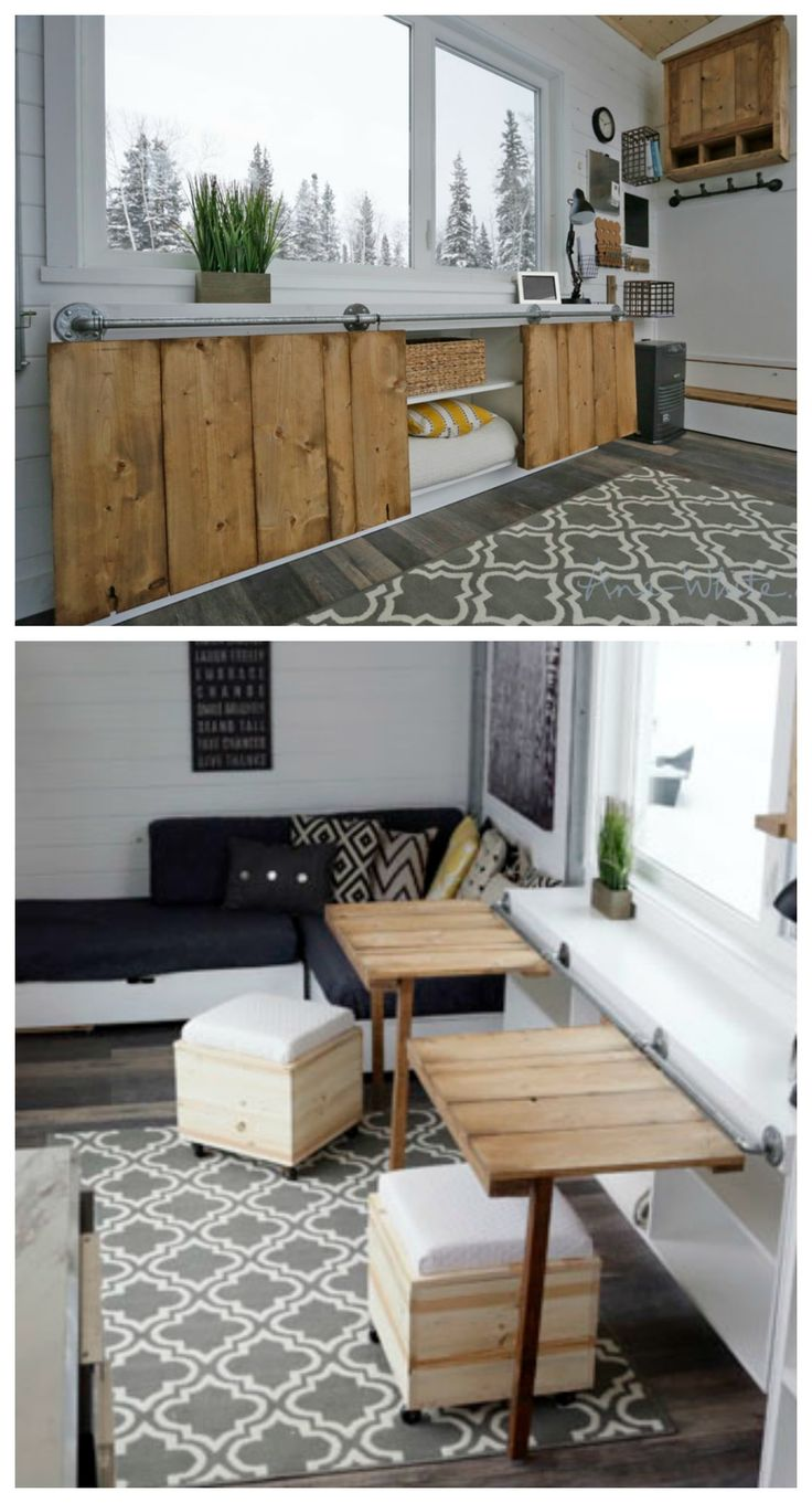open concept rustic modern tiny house photo tour and sources ana white woodworking projects - Tiny House Storage Ideas