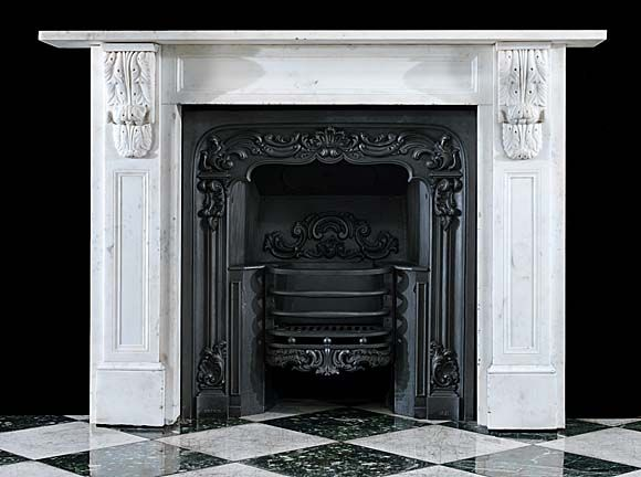 A Typical Early Victorian White Statuary Marble Antique Fireplace
