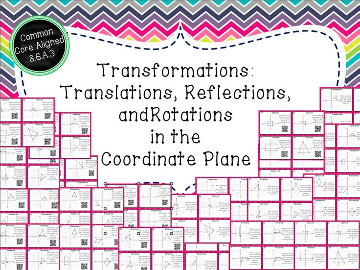 40 task cards with and without QR codes cover all 4 types of transformations: translations, reflections, rotations, and dilations.