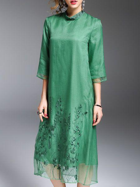 Shop Midi Dresses - Green Shift Embroidered Casual Silk Midi Dress online. Discover unique designers fashion at StyleWe.com.