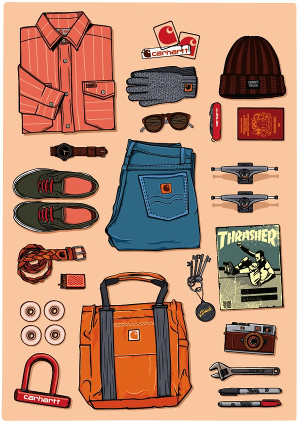 Illustration || Product Catalogue - Carhartt by Justin Poulter, via Behance