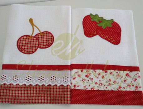 Pano de prato/Dishcloth Pano de prato com aplique de tecido e bordado. Dish towel with appliqué tissue and embroidery. www.ehbordados.com.br