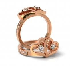 Inel de logodna cu diamante Diego din aur roz