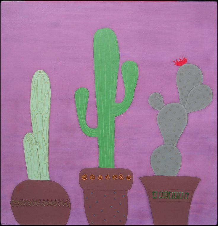 Cacti, mixed media on canvas. 100x100 cm. ©Sheila Nielsen